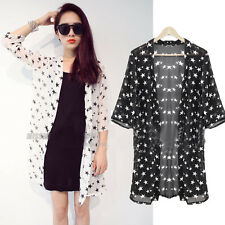 Chic Womens Casual Chiffon Cardigan Long Sleeve OL Star Printed Blouse Top Shirt