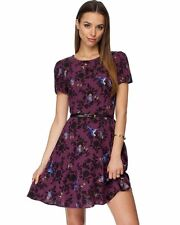 Brand New Oasis Wine / Black Butterfly Humming Bird Belted Dress