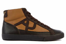 ARMANI JEANS MEN'S SHOES HIGH TOP LEATHER TRAINERS SNEAKERS NEW BROWN  0BD