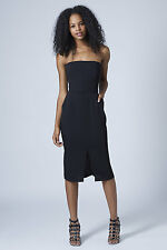 BNWOT SOLD OUT @ TOPSHOP BLACK MINIMAL BANDEAU MIDI DRESS MANY SIZES RRP 55.00