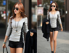 Women's Loose Casual Cotton Long Sleeve T Shirt Tops Back Stitching Blouse