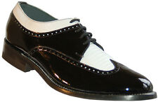 Stacy Baldwin Wingtip Oxford Black and White Patent Leather Tuxedo Shoes