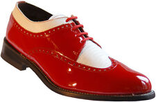 Stacy Baldwin Wingtip Oxford Red and White Patent Leather Tuxedo Shoes
