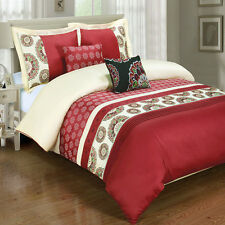 Chelsea Red 5-Piece Embroidered Egyptian Cotton Duvet Cover Set