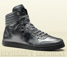 GUCCI Mens platinum CODA GG shiny IMPRIME Leather High Top Sneakers NIB Authentc
