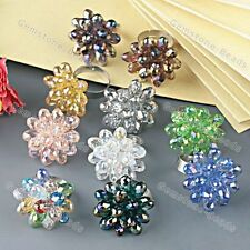 Faceted Colors Crystal Glass Teardrop Beads Finger Ring Adjustable Pick Jewelry