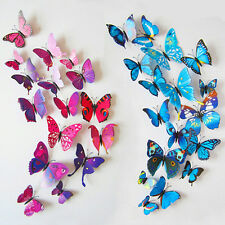 12PCS 3D Butterfly Sticker Art Decal Wall Stickers Home Decor Room Decorations
