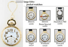 Pocket watch-themed fobs, various designs & keychain options