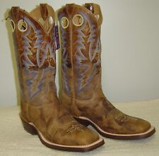 Brand New Tan Puma Square Toe Bent Rail Cowboy Boot By Justin Boot Co.