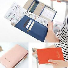 Travel Journey Leather Long ID Credit Card Passport Holder Cover Case Wallet