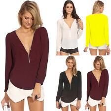 Women's Ladies Loose Chiffon Tops Long Sleeve Shirt Casual Blouse Size(UK6 16)