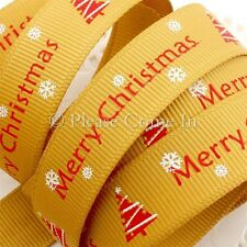 """Grosgrain Ribbon 16mm 5/8"""" Merry Christmas with Christmas Tree in Gold"""