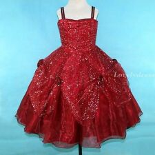 NEW Flower Girl Wedding Party Pageant Bridesmaid Dress Wear Set Wine SZ 4-8 Q450