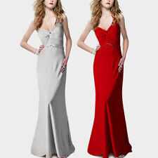 Beaded Halter V Neck Bridesmaid Ruched Evening Prom Cocktail Occasion Maxi dress