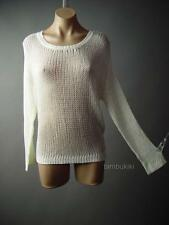 Americana Ivory Sheer Crochet Knit Crewneck Jumper Pullover 108 df Sweater S