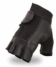 Men's Fingerless Leather Motorcycle Gloves - Lightweight - Biker Style