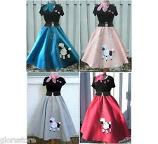Adult 4 Pc 50's Fifties POODLE SKIRT Set You Choose Size & Color FREE SHIPPING