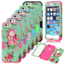 Peony Floral Pattern Matte Soft Silicone Combo Case Cover For iPhone 6 6S Plus