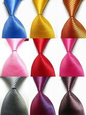 NEW Classic Solid Color Striped Tie JACQUARD WOVEN 100% Silk Men's Tie Necktie F