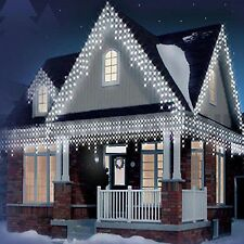 CHRISTMAS 200/320/480/720/960 ICICLE SNOWING LED XMAS LIGHTS PARTY OUTDOOR WHITE