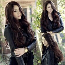 Hot Cool Lady Brown Long Hair Curly Wavy Full Wigs Cosplay Costume Skin Top Bang