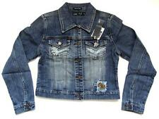 Distressed Stretch Denim Embroidered Studded Patchwork Jacket Small Medium NWT