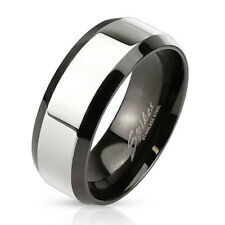 Stainless Steel Glossy Center with Beveled Edge Two Tone Men's Ring Wedding Band