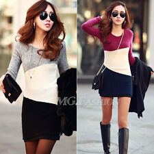 Women Winter Long Sleeve Knitted Jumper Sweater Tops Pullover Dress Casual new
