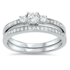 Sterling Silver Clear CZ Engagement Wedding Set Two in One Love Ring Size 3-11