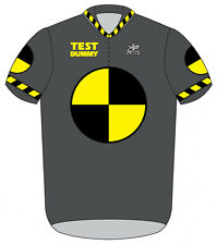 Crash Test Dummy Cycling Jersey Short Sleeve Men's Gray with DeFeet Socks