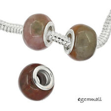 1PC Natural Blood Stone In Sterling Silver Charm Bead Fit European Bracelet