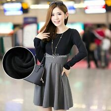 New Autumn Vintage Women O neck Collared Casual Party Skirt Mini Dress SH