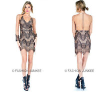 BLACK BEIGE Nude LACE MESH DRESS Sexy Sheer V-Neck Cocktail Long Sleeve S M L