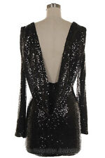BLACK SEQUIN DRAPED DRESS Mini Backless Open Back Long Sleeve Cocktail S M L