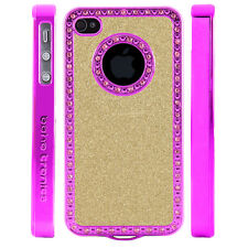 Gem Crystal Rhinestone Light Gold Shimmer Plastic Case For Apple iPhone 5 5S 5G