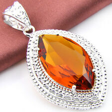 Hot-selling Jewelry Shining Citrine, Morganite Gemstone Silver Pendant 1 1/2""