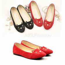 Cute Fashion Cat Dog Face Womens Low Heels Comfort Ballerina Flats Shoes Loafers