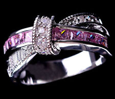 Jewelry Women's Ring White Gold Filled White/Pink Sapphire Wedding Cross #6-#10