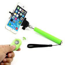 Green Extendable Stick Holder + Bluetooth Selfie Camera Shutter for Cell Phones