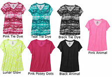 NEW Danskin  Women's Performance Poly V-Neck Tee Shirt Tie Dye & Animal DNW14010