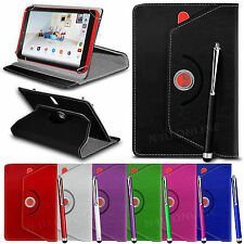 """360° Rotating Luxury PU Leather Spring Stand Case Cover & Pen for 8"""" Tablets"""