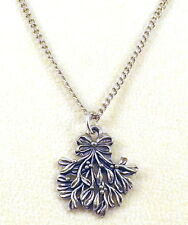 Pewter Mistletoe Charm on a Silver Tone Link Chain Necklace - 5327