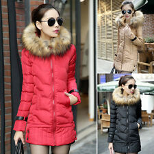 Donne lungo piumino HOODED pelliccia giacca cappotto parka Down Coat Outwear