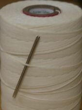 STRONG WAXED LINEN HAND SEWING THREAD FOR LEATHER/CANVAS & 2 NEEDLES - NATURAL