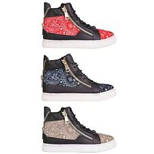 Hidden Fashion Womens Bandana Print Faux Leather Lace Up High Top Trainers