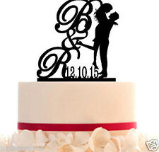 Custom Wedding Cake Topper with Date/Letter - Initial Silhouette - Color Choice