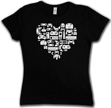 CONTROLLER HEART I GIRLIE SHIRT - Video Game Gamepad NES Evolution Joystick Girl