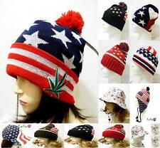 USA American Flag Hat Ball Cap Winter Earflap Beanie Ski Bucket Red White Blue