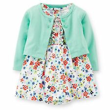 Carters Newborn 3 6 9 12 18 24 Months Dress & Cardigan Set Baby Girl Clothes