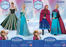 Simplicity NEW Sewing Patterns Adult Frozen Costumes Elsa Anna Dresses Cape Hat
